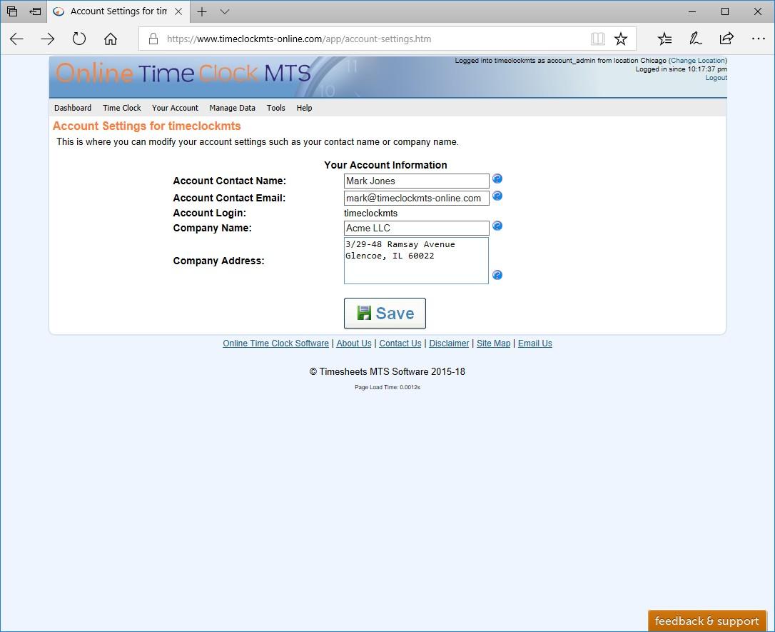 Online Time Clock Mts Screenshots