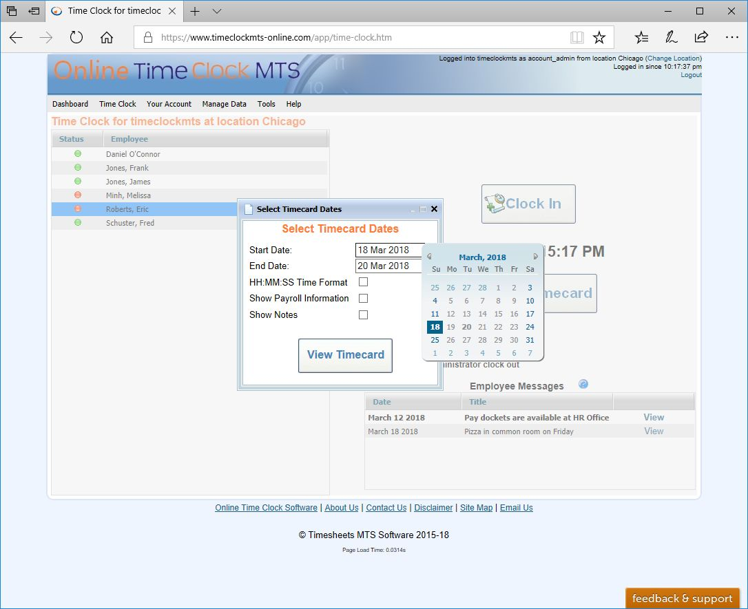 view employee timecard dates now selectable - Online Time Card